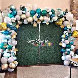 Green and gold balloon garland