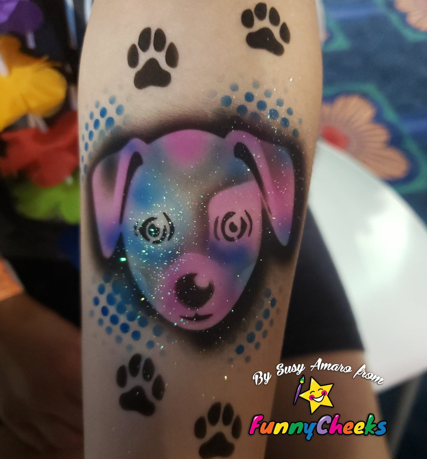 Dog airbrush tattoo