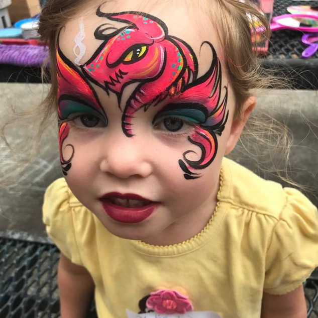 Girly Dragon Face Painting