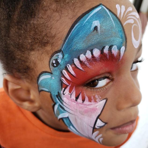 Waterproof Shark Face Painting