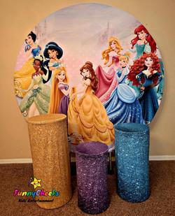 Princess Backdrop and 3 pillar rental