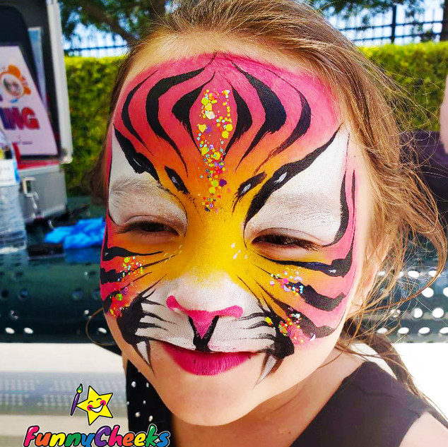Tiger painted with waterproof face paints