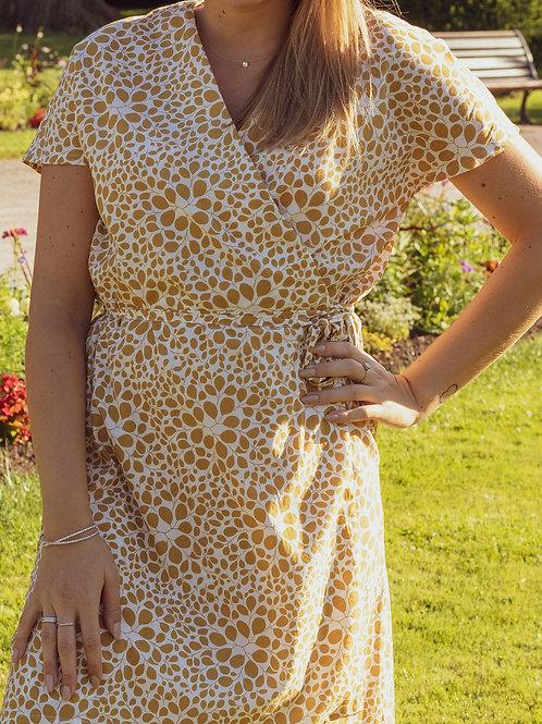 Robe Joséphine fleurs dorées