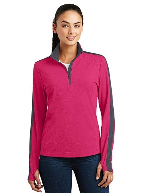 Ladies Sport-Wick Textured Colorblock 1/4-Zip Pullover LST861