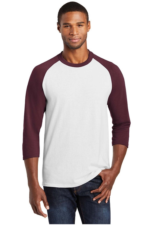 Port & Company 3/4-Sleeve Raglan T-Shirt - White/Athletic Maroon PC55RS