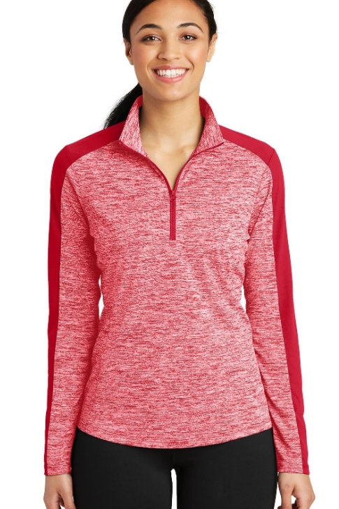 Ladies Sport-Tek PosiCharge Electric Heather Colorblock 1/4-Zip Pullover LST397