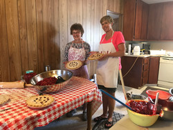 Dixie and Anne making Cherry Pies