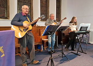 musicians playing in church