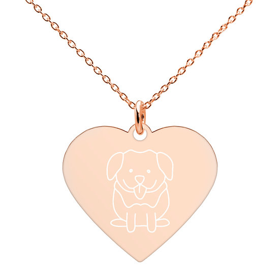 Puppy Print Heart-shaped Necklace