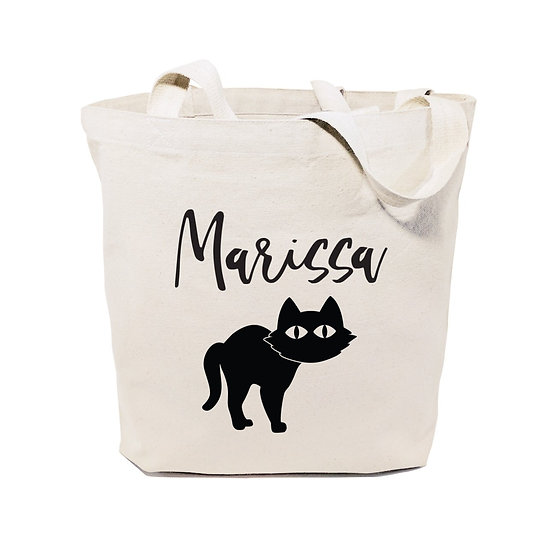 Personalized Name - Black Cat Cotton Canvas Tote Bag