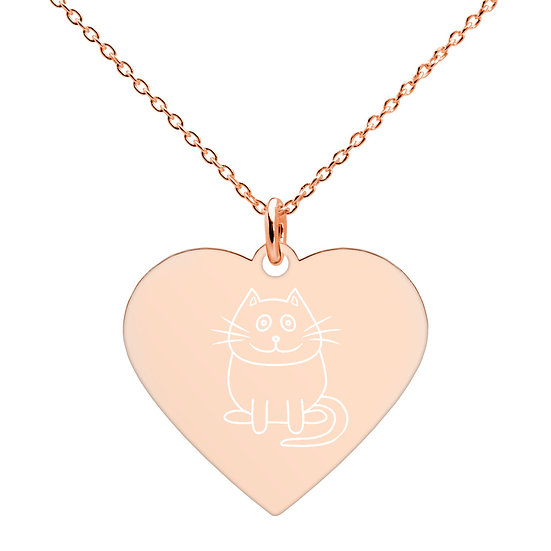 Kitty Print Heart-shaped Necklace