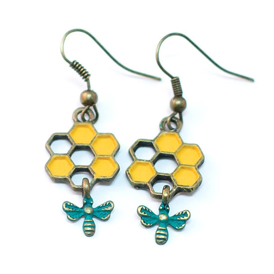 Honey Comb Bee Earrings