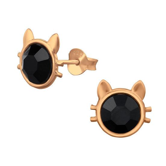 Black Cat Head Whiskers Stud Earrings