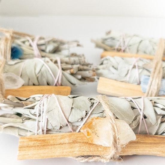 Palo Santo, Sage & Crystal Smudging Bundle - Refill