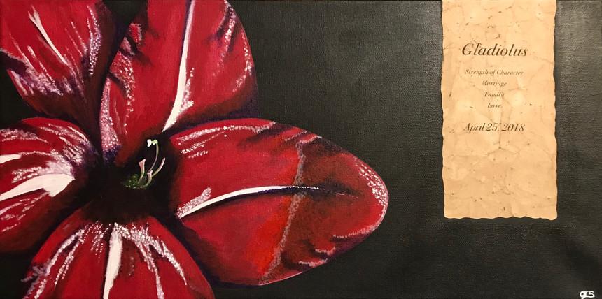 38 - Gladiolus - Acrylic/Mixed Media on Canvas - 2019 -12x24