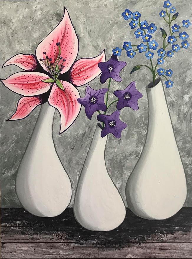 28 - Floral Trio - Acrylic on Canvas - 2019 - 36x42