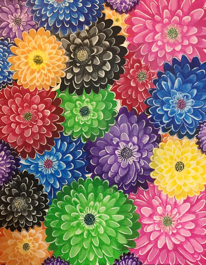 29 - Chrysanthemum - Acrylic on Canvas - 2019 - 36x42