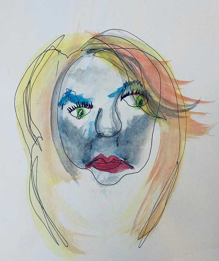 "08 - Blind Contour 1 - Pen and Water Colour - 2020 - 9""X12"""