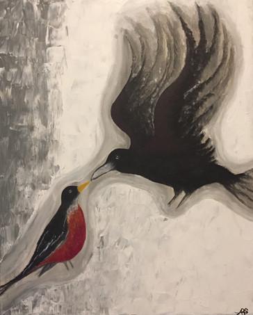 22 - The Robin and the Crow - Acrylic on Canvas - 2018 - 24x36