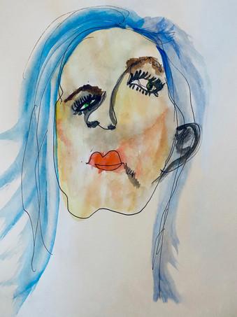 "09 - Blind Contour 2 - Pen and Water Colour - 2020 - 9""X12"""