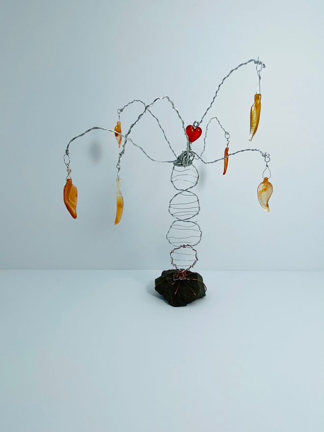 39 - Roots - Wire/Glass/Stone - 2020 - H 10in W 10in