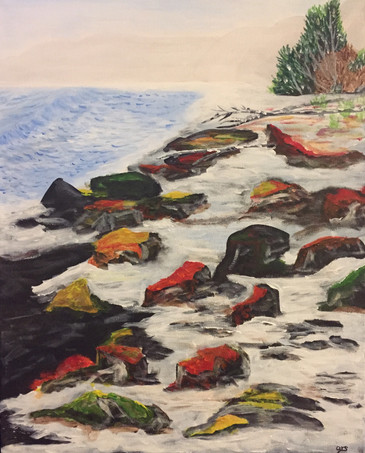 26 - Rocky Spring Melt - Acrylic on Canvas - 2019 - 24x32