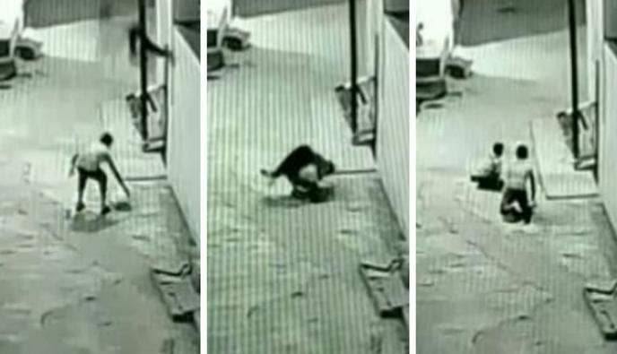 Salva a bebé que cayó de un quinto piso