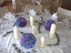 Tischdekoration Hortensienkugeln