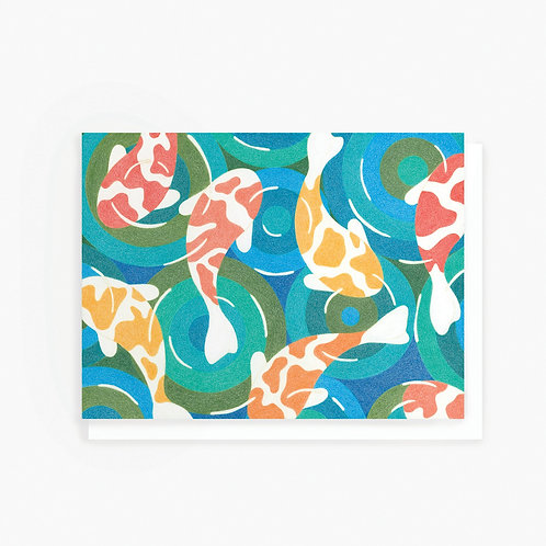 Koi Fish Pond - Greeting Card