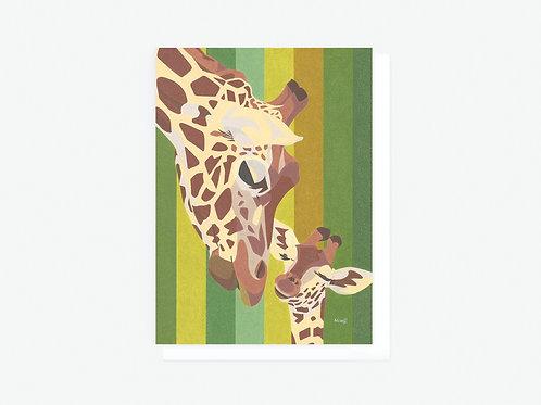 Giraffe Family - Greeting Card