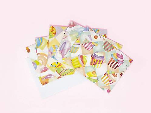 Set of 5 Dessert Themed Cards