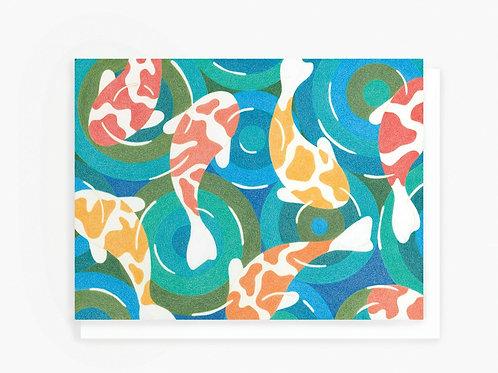 Koi Fish Pond - Greeting Card