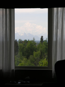 Denali at 3AM From Talkeetna Alaskan Lodge Room