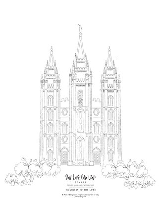 Salt Lake City Utah Temple Coloring Page