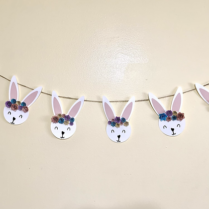 Flower Crown Bunny Banner