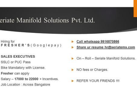 Sales Executive - Fresher - Bangalore - 17000-22000