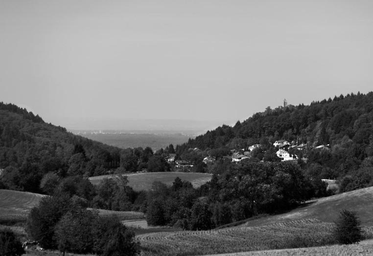 Odenwald mit Blick auf die Heppenheimer Burg