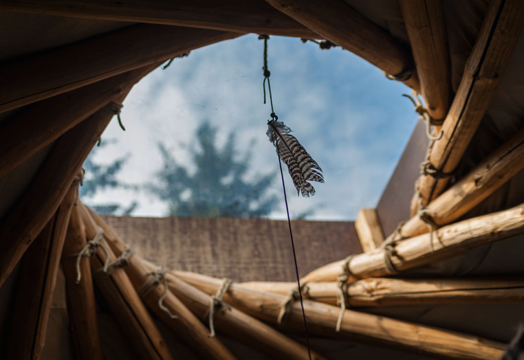 Blick aus der selbsterrichteten Jurtenhütte