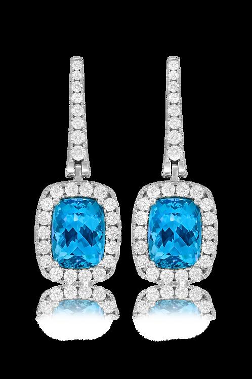 Aqua Marine and Diamond Earrings