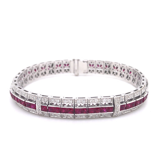 Ruby and Diamond Deco Style Bracelet