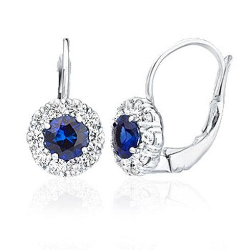 Sapphire & Diamond, White Gold Earrings