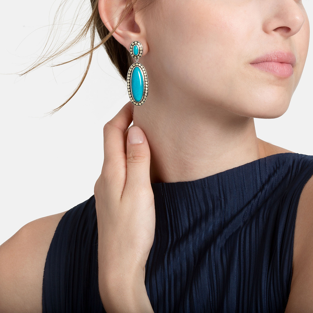 John Hardy Dot turquoise dangle earrings in 18 karat gold and sterling silver available at Smythe and Cross fine jewelry Los Altos California