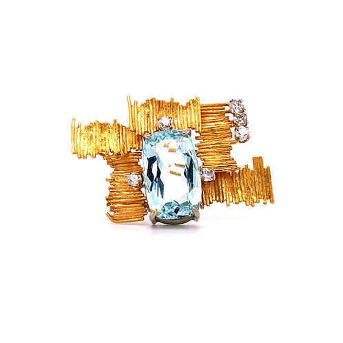 Estate Aquamarine and Diamond Brooch