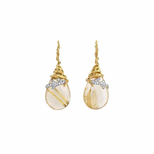 Michael Aram Quartz and Gold Earrings