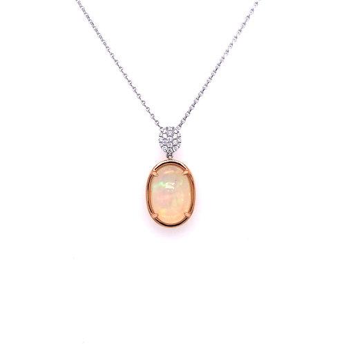 Spark Opal and Diamond Pendant