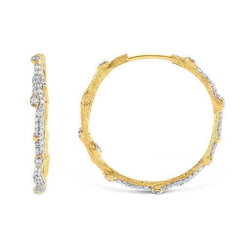 Michael Aram Diamond & Gold Hoop Earrings