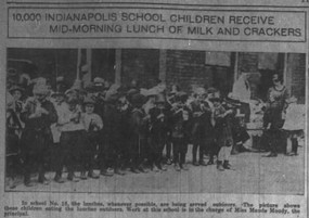 10,000 Indianapolis School Children Receive Mid-Morning Lunch of Milk and Crackers