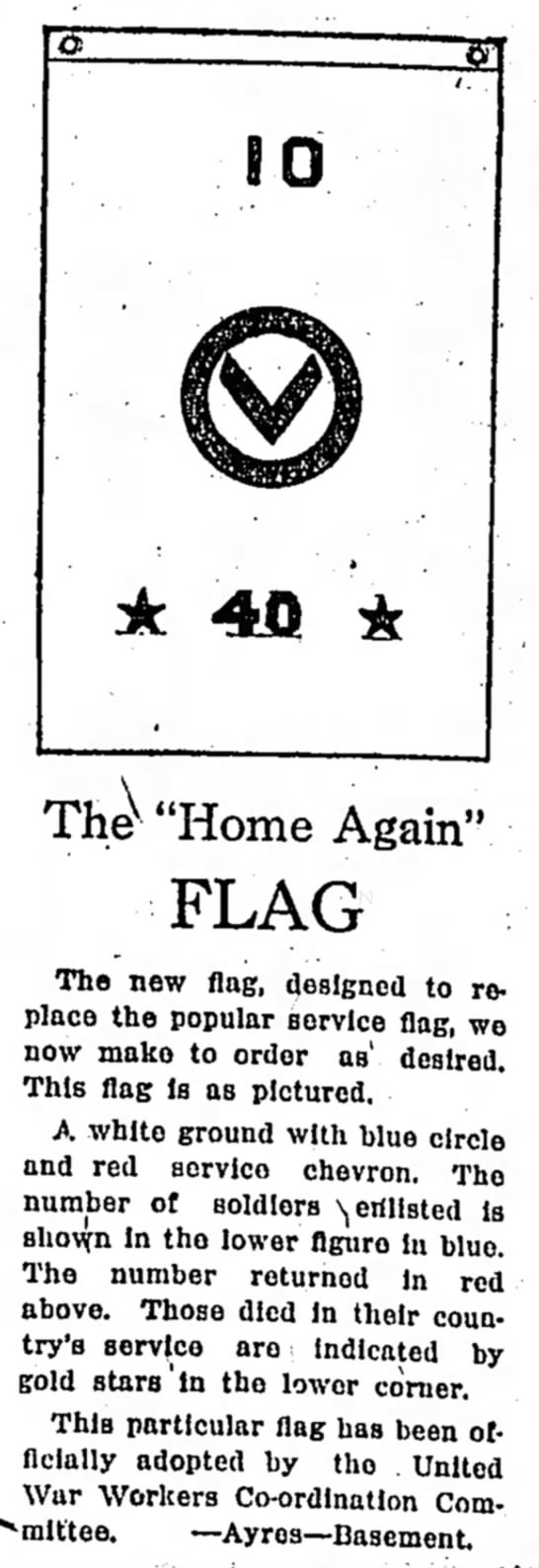The Home Again Flag, The Indianapolis Star, 2 March 1919, p. 40.