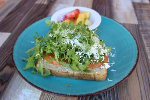 Feta Tomato and Arugula  Toast
