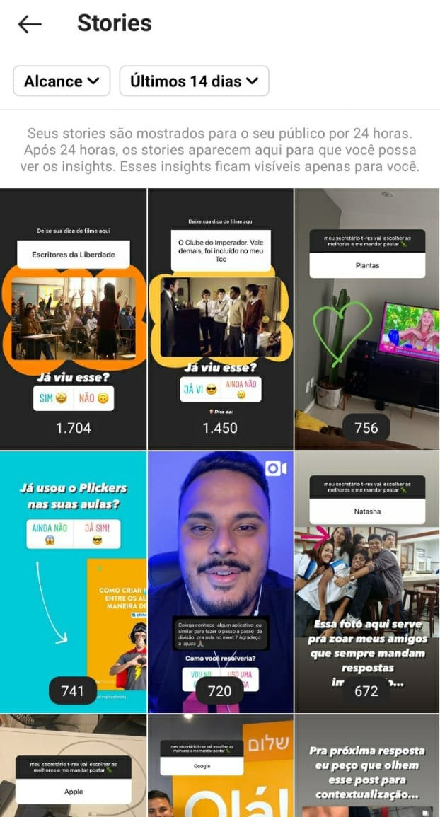 Análise dos Stories no Instagram Insights